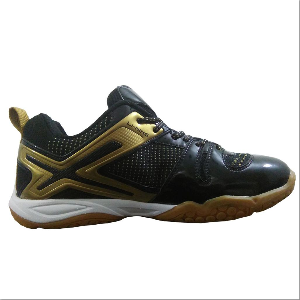 Li Ning Omega Badminton Shoes Black And Gold Online At Lowest S In India Khelmart Com