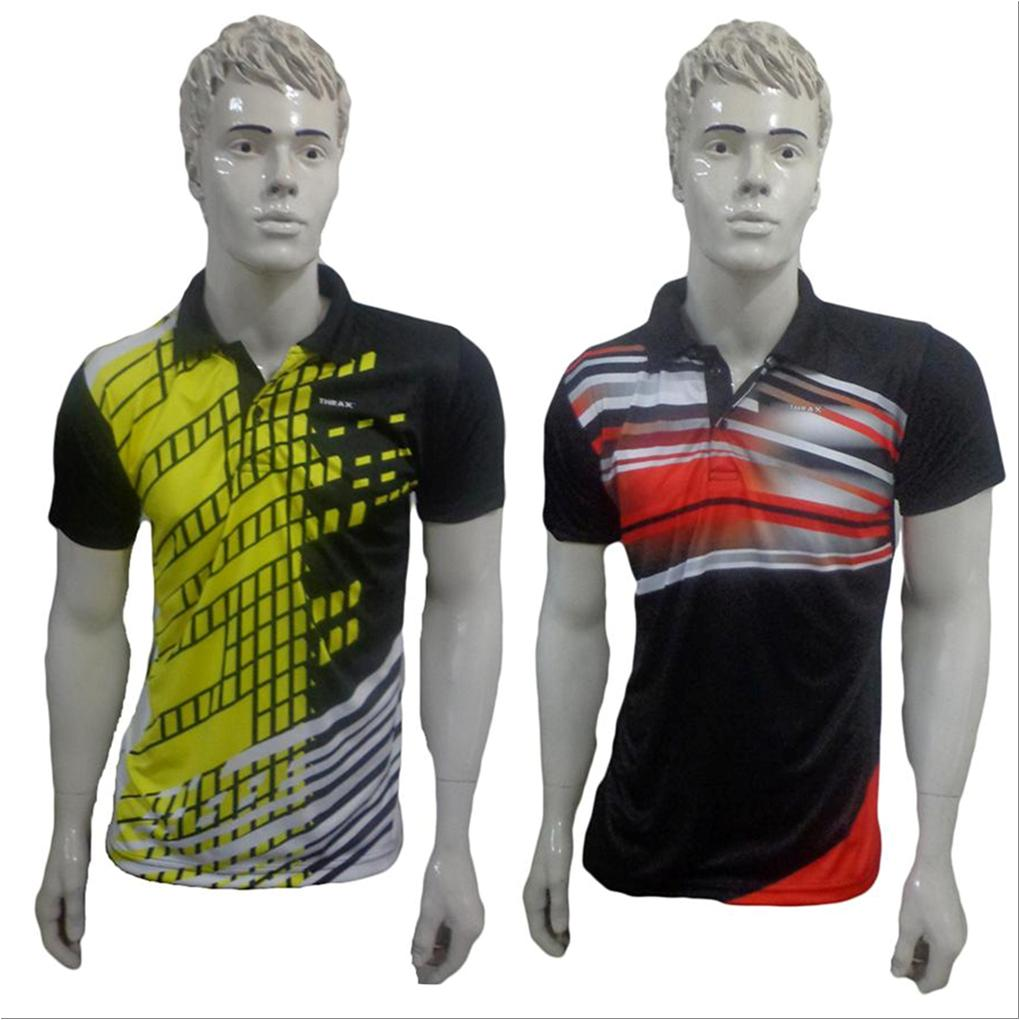 9ef135c27 Set Of 2 Thrax Badminton T shirt Size Medium Black Yellow And Red and Black
