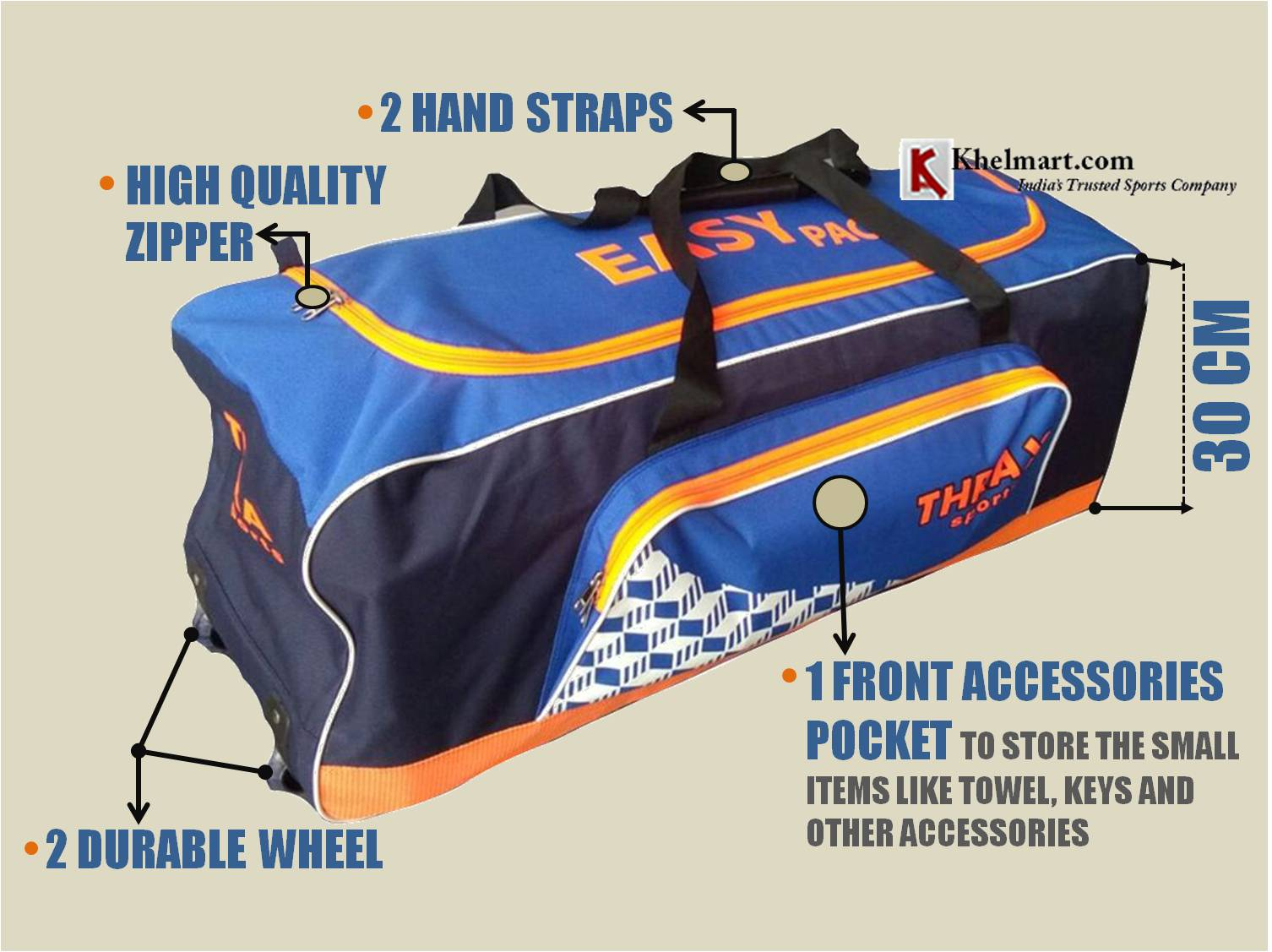 90ab86489 Thrax Ezy Pack Wheel Cricket Kit Bag Blue and Orange - Buy Thrax Ezy ...