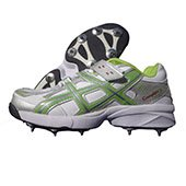 PRO ASE stud Full Spike Cricket Shoes White and Green