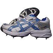PRO ASE stud Full Spike Cricket Shoes White and Blue