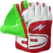 BDM Aero Dynamic Cricket Wicket keeping Gloves Red White and Green