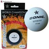 Set of 12 Donic 1 Star Table Tennis Ball White and Black