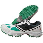 Gravity Grab Stud Cricket Shoes White Black and Green