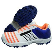 HDL Pride Stud Cricket Shoes White Blue and Orange