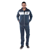 Invincible Poly Tricot Classic Warm Up Suit Larze Blue and White