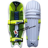 Puma Evo 7 Moulded Cricket Batting Leg Guard White and Lime