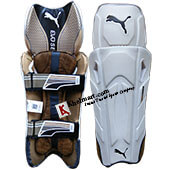 Puma Evo Se Cricket Wicket Keeping Leg Guard White and Golden