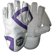 SF Classic Pro Cricket Wicket Keeping Gloves Purple White