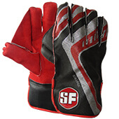 SF College Cricket Wicket Keeping Gloves Red Black