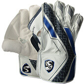 SG Hilite Wicket Keeping Gloves White Blue Black