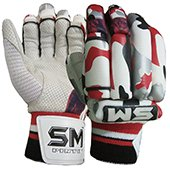 SM Emerald Batting Gloves White and Red