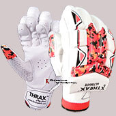 THRAX Ultimate Left Hand Cricket Batting Gloves White Black and Red