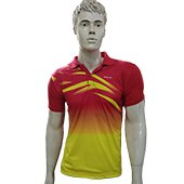 Thrax Polo Badminton T Shirt Color Neck with Half sleeve Red and Yellow Size Medium