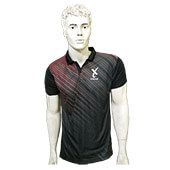 Thrax Polo Badminton T Shirt Color Neck with Half sleeve Black and Red Size Medium
