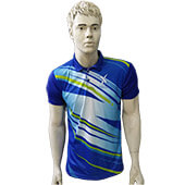 Thrax Polo Badminton T Shirt Color Neck with Half sleeve Blue and White Size Medium