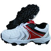 Thrax Revo Cricket Shoes White Red and Black