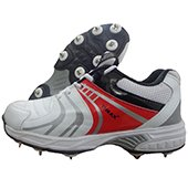Thrax Revo Full Spike Cricket Shoes White and Red