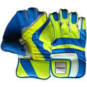 Thrax Power Grip Cricket Wicket Keeping Gloves Blue and Lime