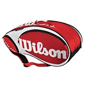 Wilson Tour  9 PK Tennis Kitbag Red and White